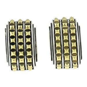 Caviar 925 Sterling Silver & 18K  Omega Earrings